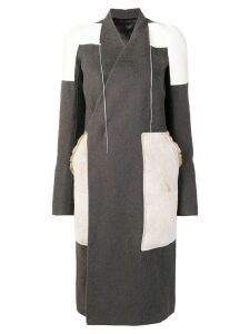 Rick Owens patchwork panelled coat - Grey