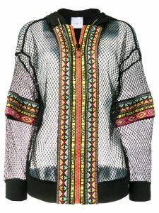 Gaelle Bonheur mesh hoodie - Black