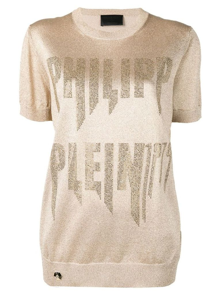 Philipp Plein logo embellished knitted top - Gold