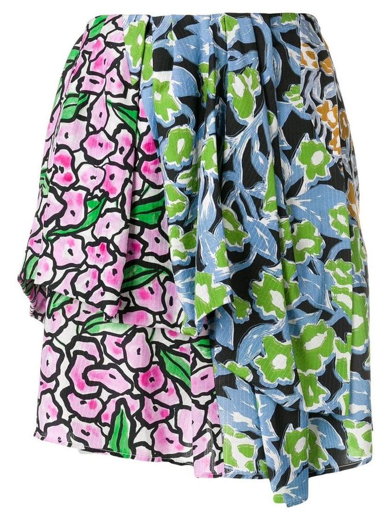 Christian Wijnants floral patchwork skirt - Blue
