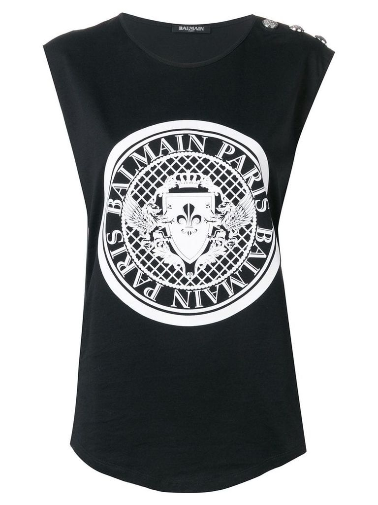 Balmain Balmain medallion print tank top - Black