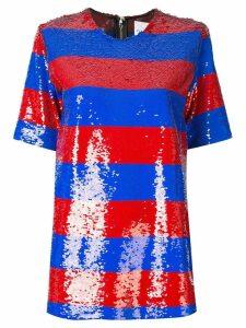 Halpern striped sequin T-shirt - Red