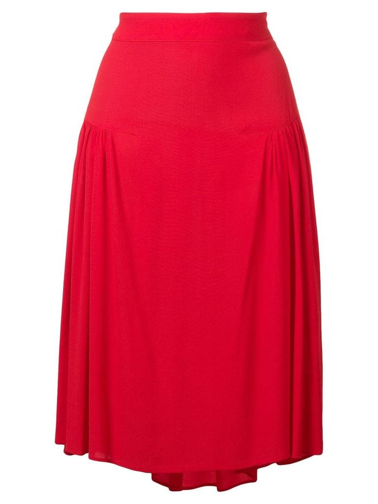 Closed A-line skirt with pleats - Red