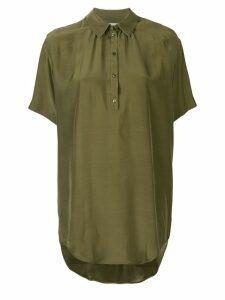 A.F.Vandevorst asymmetric hem silk polo shirt - Green
