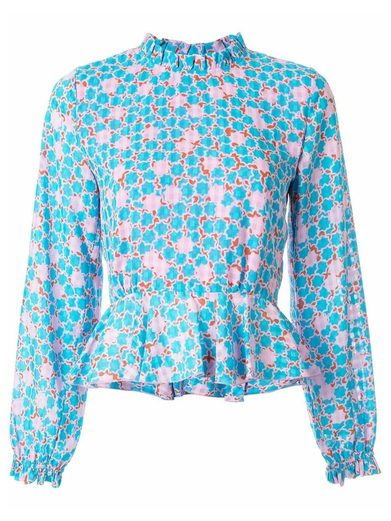 Stine Goya Star Dot print peplum top - Blue