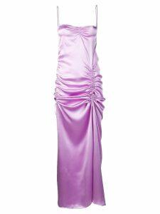Priscavera ruched satin slip dress - PURPLE