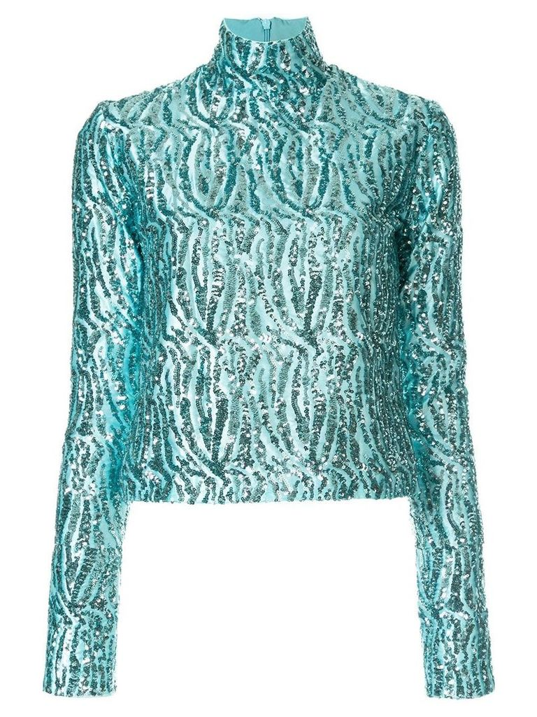 16Arlington sequinned turtleneck top - Blue