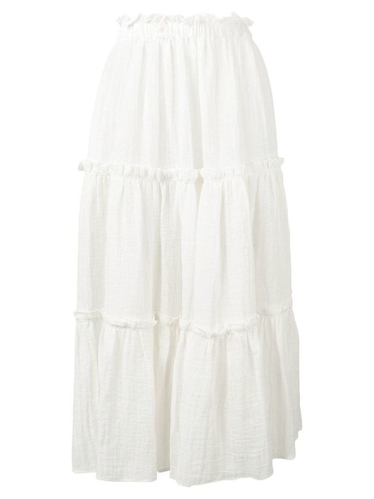 Lisa Marie Fernandez ruffle peasant skirt - White