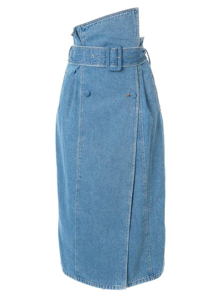 Anna October asymmetric waist denim skirt - Blue