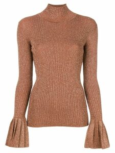 Carven flared-cuffs knitted top - Neutrals