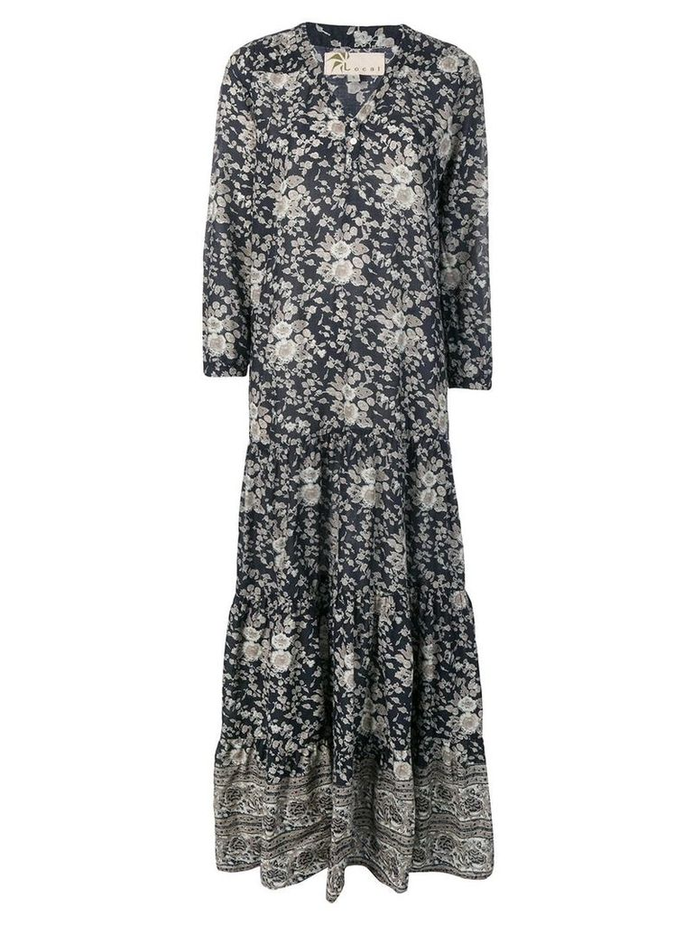 Local floral print maxi dress - Blue