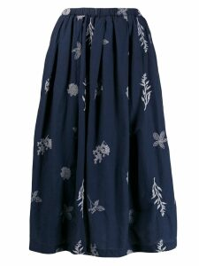 Local floral embroidered skirt - Blue