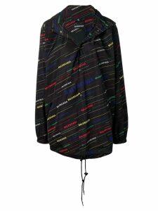 Balenciaga allover logo raincoat - Black