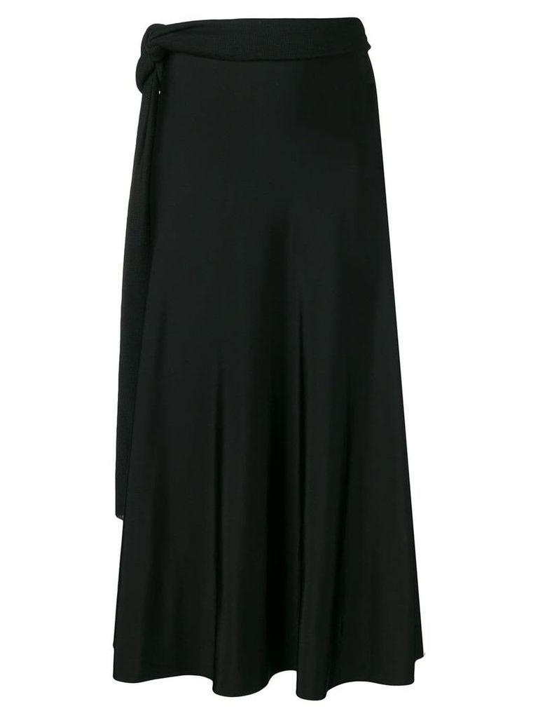 Esteban Cortazar tie waist draped skirt - Black