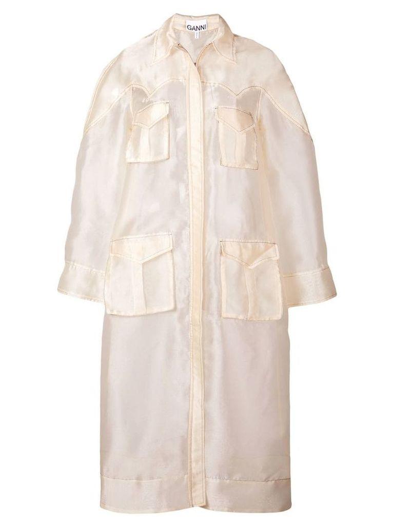 Ganni sheer trench coat - Neutrals