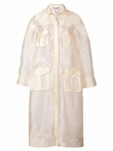 Ganni sheer trench coat - Neutrals