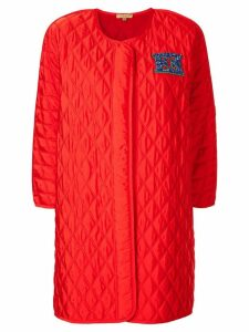 Escada embellished patch logo coat - Red