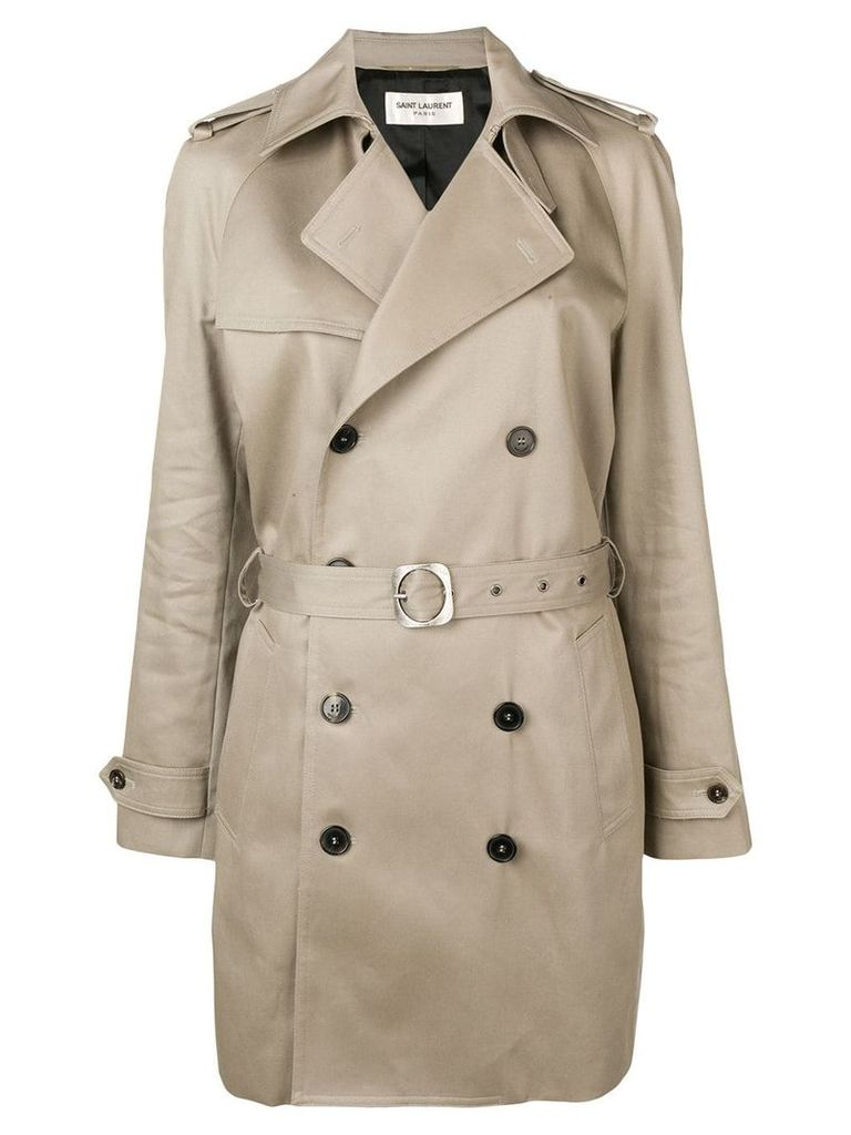 Saint Laurent double breasted trench coat - Neutrals