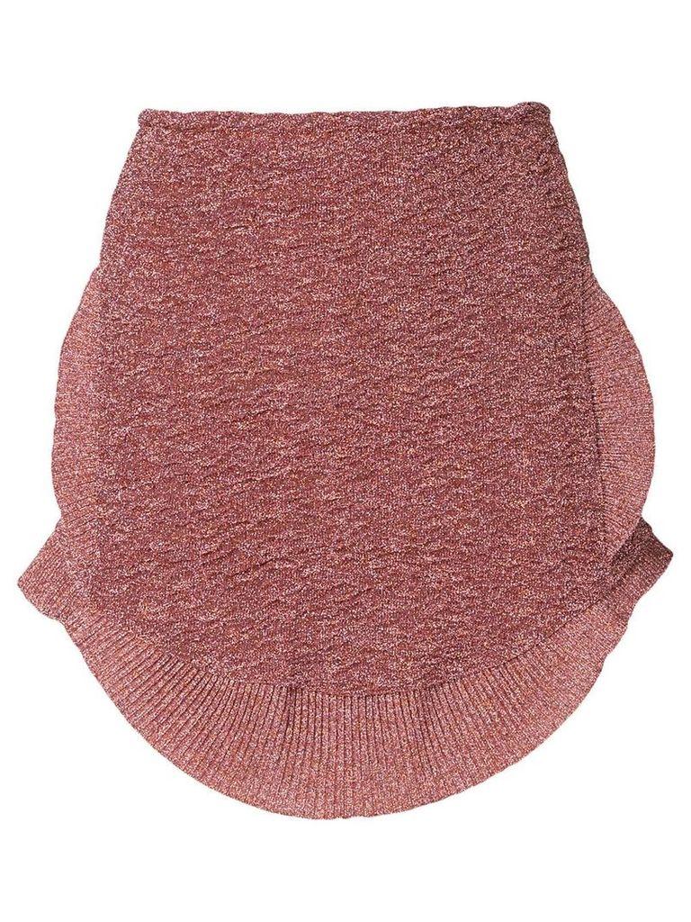 Esteban Cortazar metallic knit peplum skirt - Pink