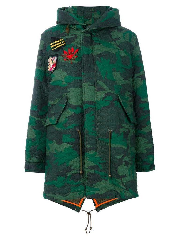 Mr & Mrs Italy camouflage midi parka coat - Green