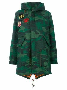 Mr & Mrs Italy camouflage midi parka coat - Green