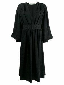 Off-White allover logo wrap dress - Black