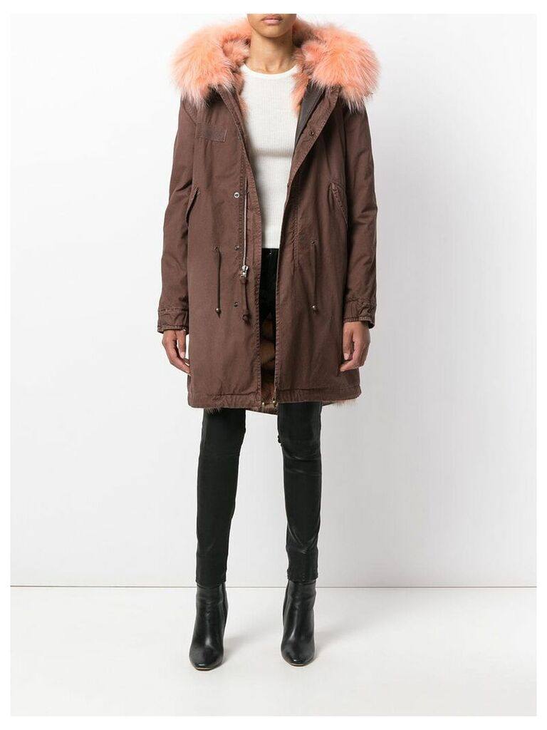 Mr & Mrs Italy trimmed hood mid parka - Brown