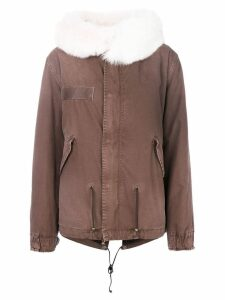 Mr & Mrs Italy trimmed hood short parka - Brown