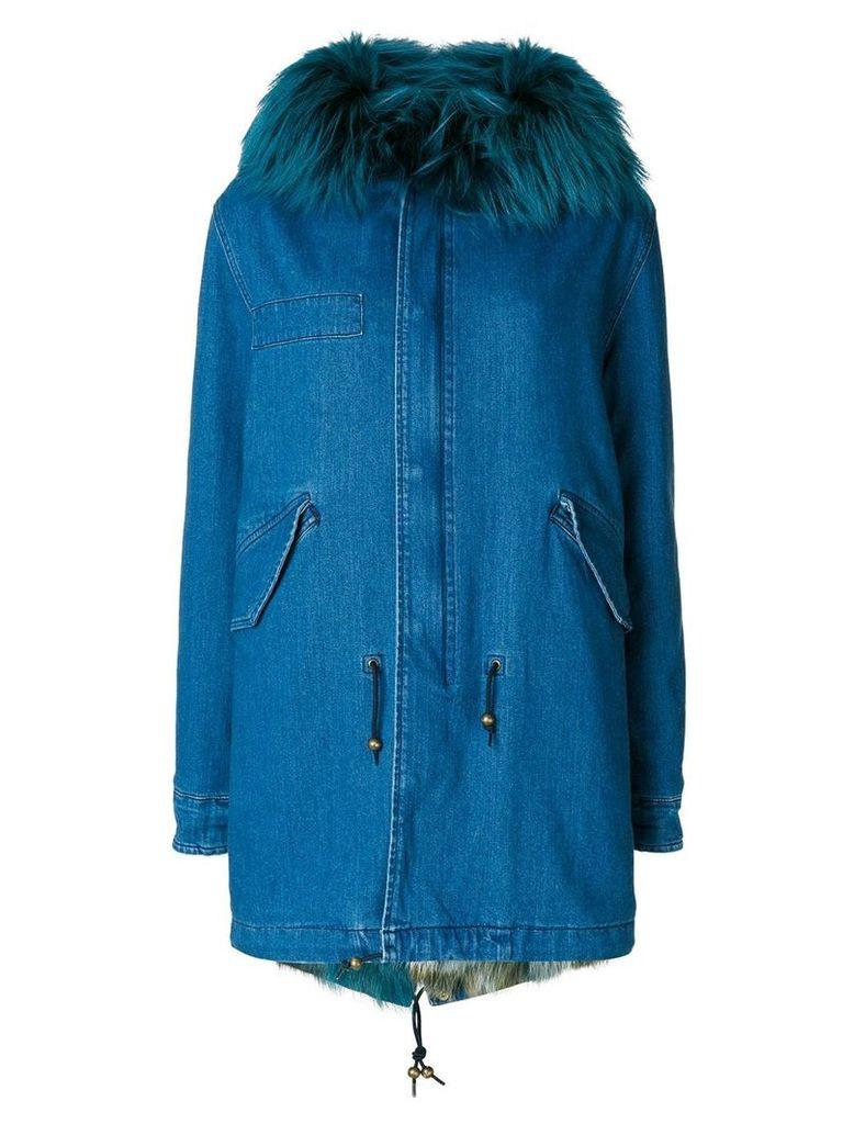 Mr & Mrs Italy fur trimmed denim parka - Blue