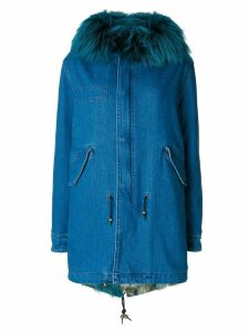 Mr & Mrs Italy fur trimmed denim parka - Blue