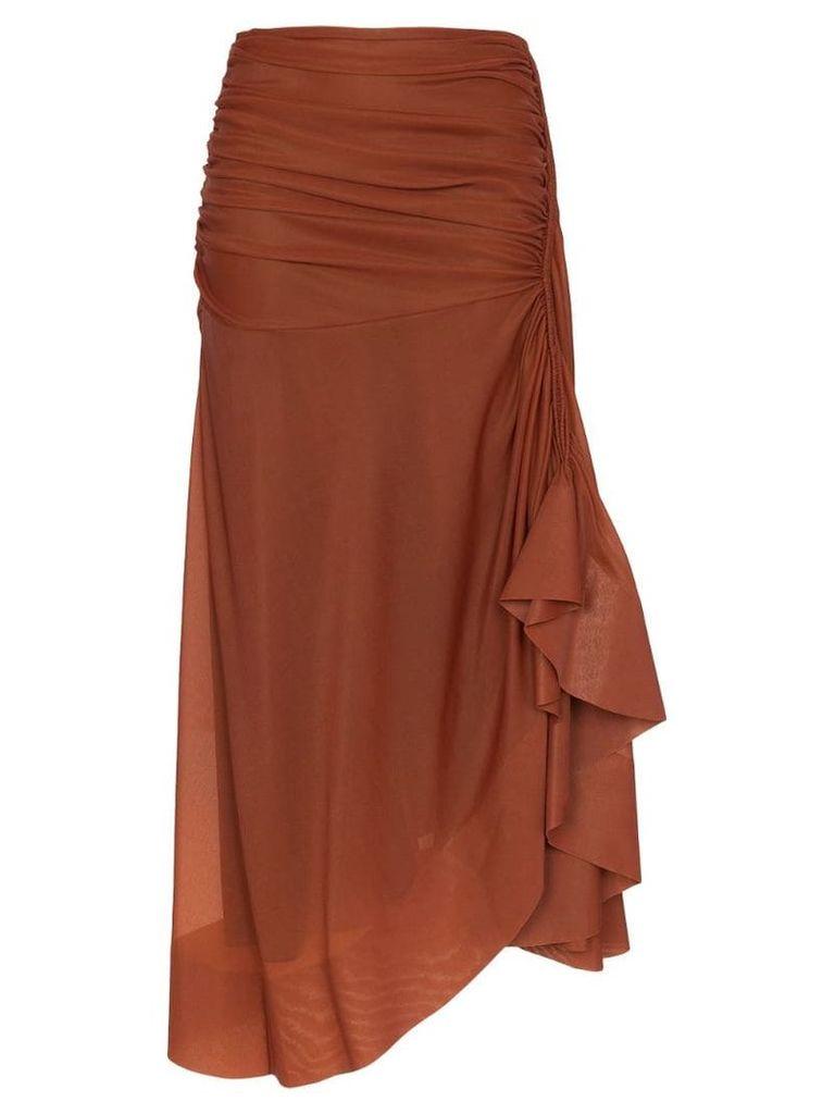 Mugler Sienna draped midi skirt - Brown