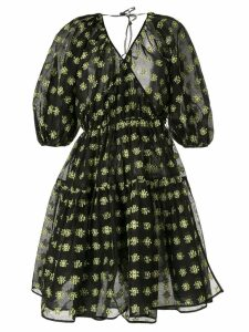 Cecilie Bahnsen floral bell sleeve wrap dress - Black