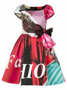 Moschino flared printed bow dress - Pink
