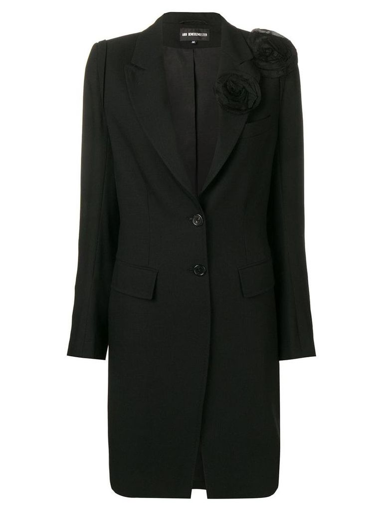Ann Demeulemeester flower appliqué coat - Black