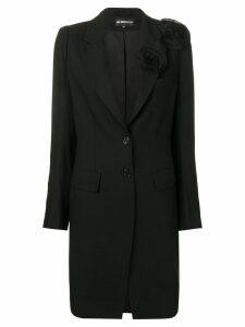 Ann Demeulemeester flower appliqué coat - Black