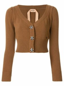 Nº21 cropped embellished button cardigan - Brown