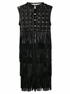 Caban Romantic embroidered leather coat with fringes - Black