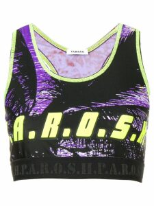 P.A.R.O.S.H. logo print cropped top - Black