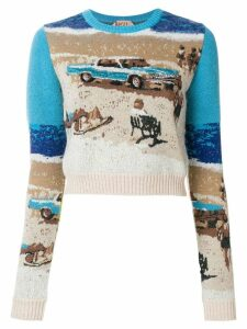 Nº21 cropped intarsia knit jumper - Blue