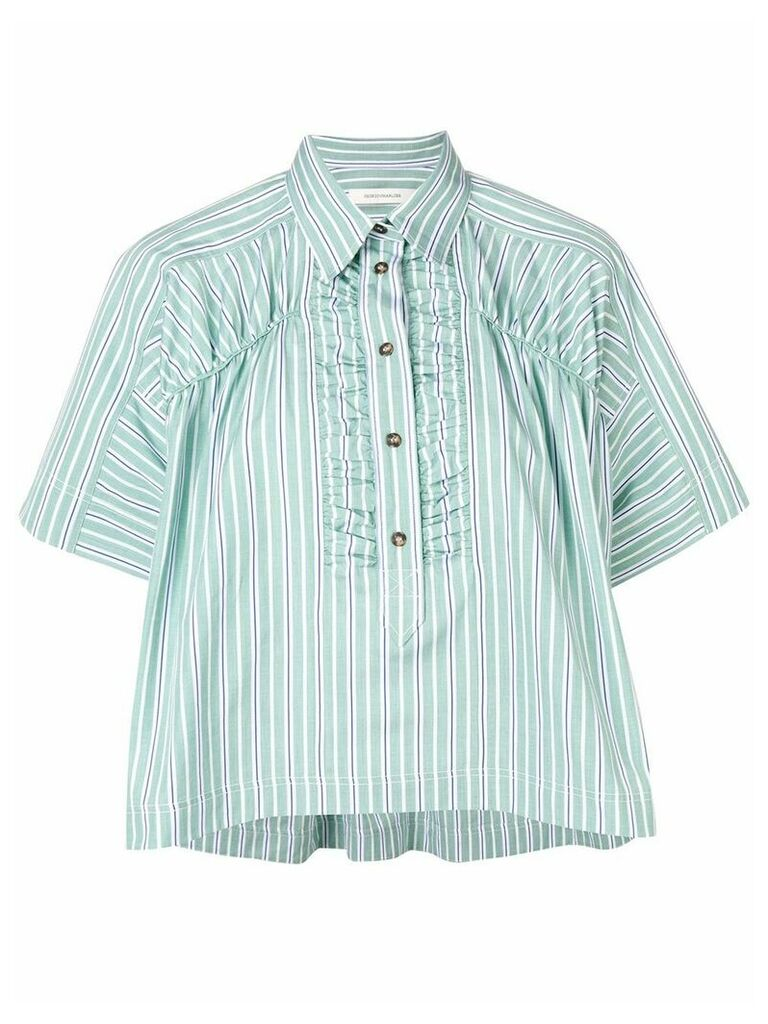 Cédric Charlier box fit striped shirt - Green