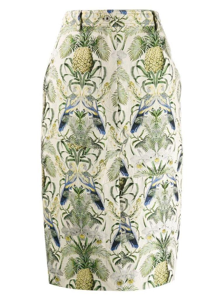 Cédric Charlier tropical pattern pencil skirt - Neutrals