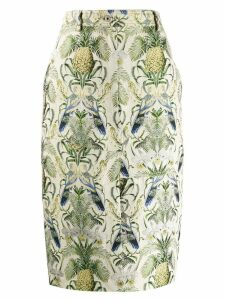 Cédric Charlier tropical pattern pencil skirt - Neutrals