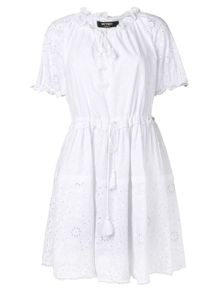 Twin-Set embroidered sun dress - White