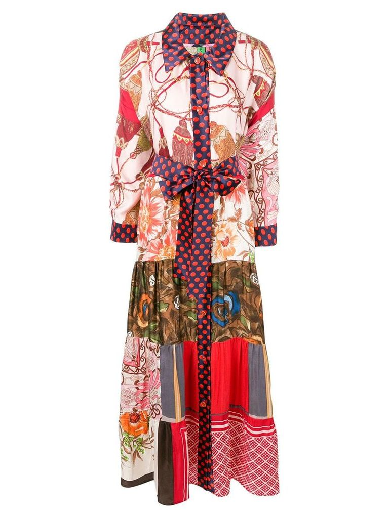 Rianna + Nina mixed print shirt dress - Brown