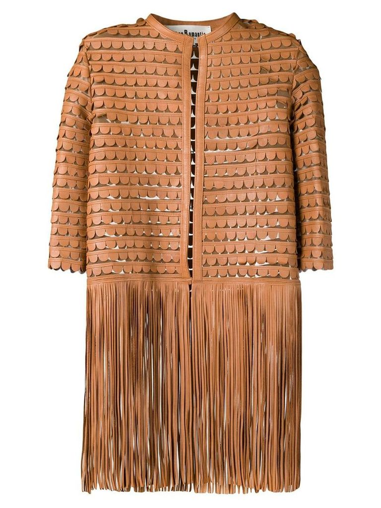 Caban Romantic leather embroidered coat with fringes - Brown
