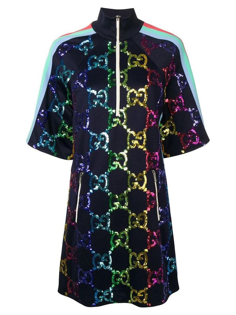 Gucci GG Supreme embellished shift dress - Blue