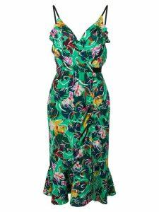 Saloni floral print peplum dress - Green