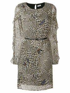 Liu Jo butterfly leopard print mini dress - Neutrals