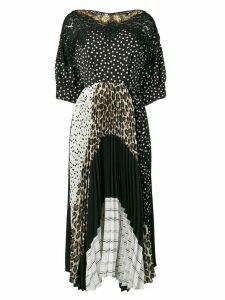 Antonio Marras mixed-print panelled dress - Black