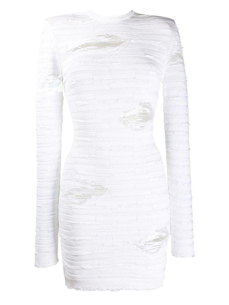 Balmain distressed knit dress - White